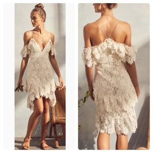 New Revolve Saylor Off White Lace Dana Dress